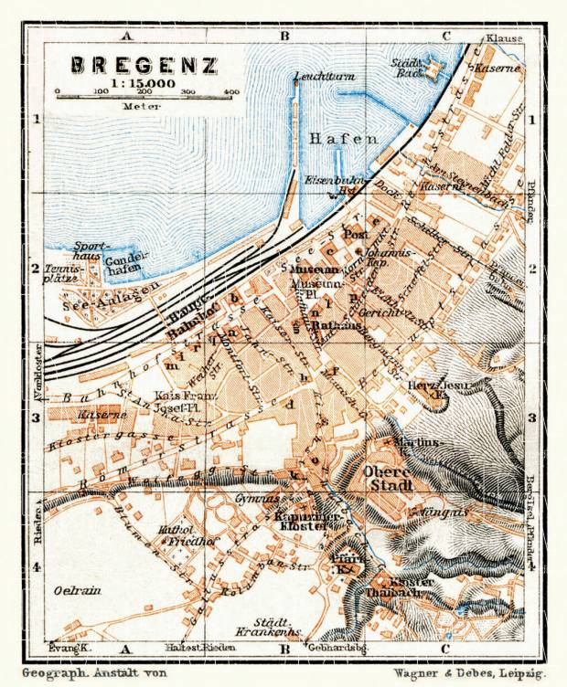Bregenz, city map, 1911. Use the zooming tool to explore in higher level of detail. Obtain as a quality print or high resolution image