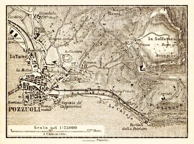Pozzuoli and environs map, 1898. Use the zooming tool to explore in higher level of detail. Obtain as a quality print or high resolution image