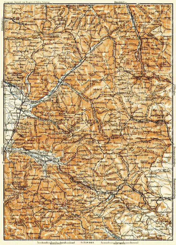 Map of the Southern Black Forest (Schwarzwald), 1906. Use the zooming tool to explore in higher level of detail. Obtain as a quality print or high resolution image