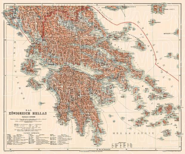 Greece, general map, 1908. Use the zooming tool to explore in higher level of detail. Obtain as a quality print or high resolution image