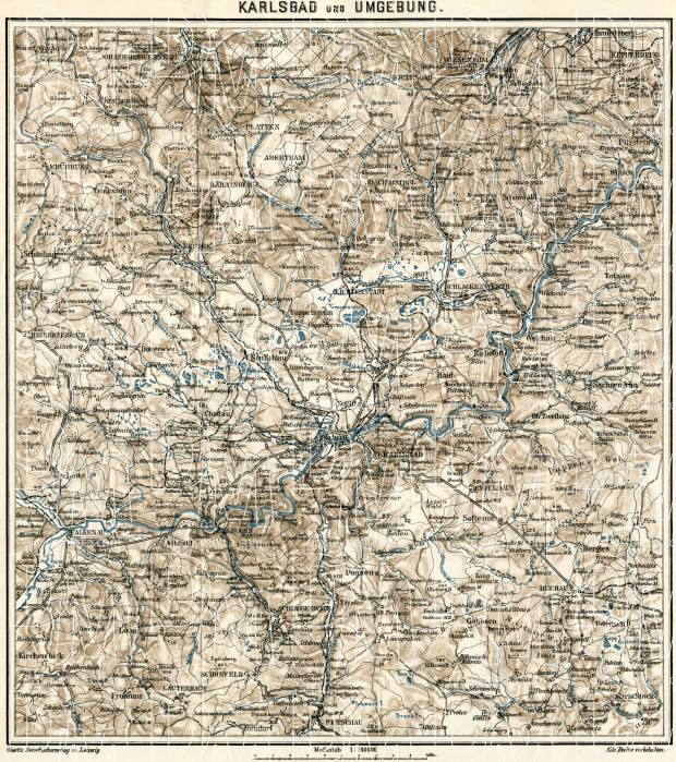 Karlový Vary environs map, 1908. Use the zooming tool to explore in higher level of detail. Obtain as a quality print or high resolution image