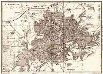 Elberfeld (now part of Wuppertal) city map, 1887