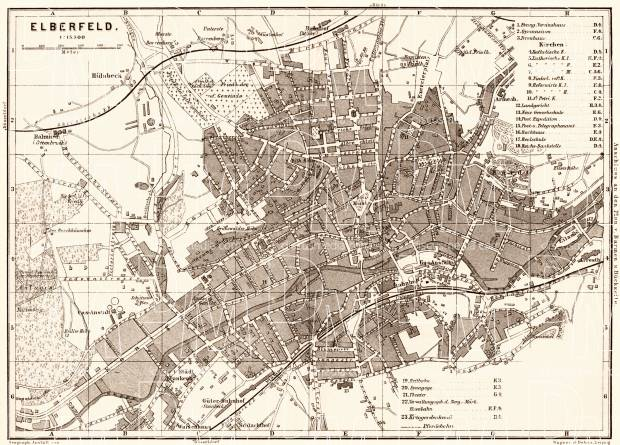 Elberfeld (now part of Wuppertal) city map, 1887. Use the zooming tool to explore in higher level of detail. Obtain as a quality print or high resolution image