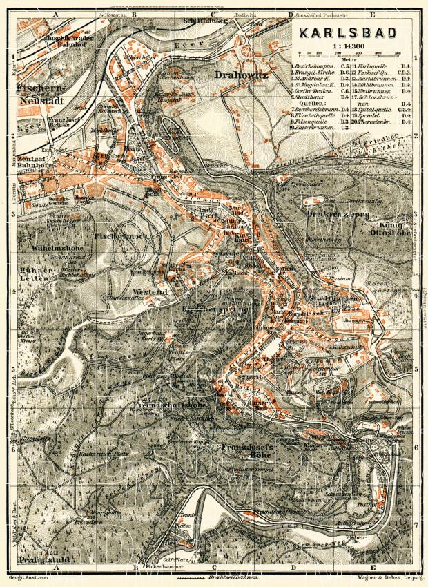 Karlsbad (Karlový Vary) city map, 1911. Use the zooming tool to explore in higher level of detail. Obtain as a quality print or high resolution image