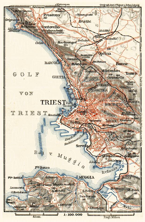 Triest (Trieste) environs map, 1911. Use the zooming tool to explore in higher level of detail. Obtain as a quality print or high resolution image