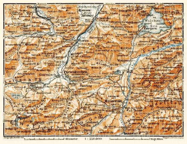 Partenkirchen and environs map, 1906. Use the zooming tool to explore in higher level of detail. Obtain as a quality print or high resolution image