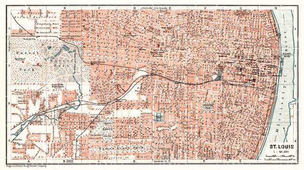St. Louis city map, 1909. Use the zooming tool to explore in higher level of detail. Obtain as a quality print or high resolution image