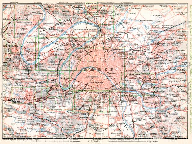 Old Map Of Paris Vicinity In 1910 Buy Vintage Map Replica Poster