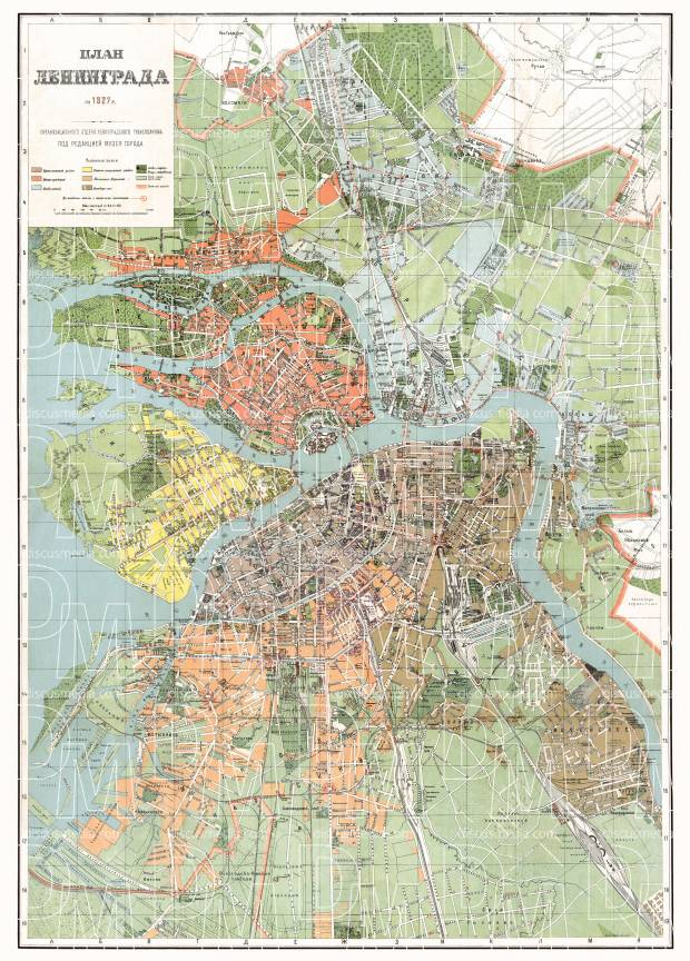 Leningrad (Ленинград, Saint Petersburg) city map, 1927. Use the zooming tool to explore in higher level of detail. Obtain as a quality print or high resolution image