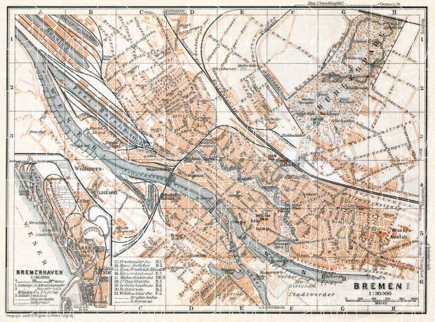 Map Of Bremen Germany.Bremen City Map Bremerhaven City Map 1906