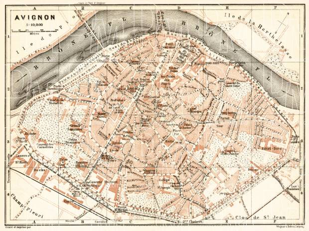 Avignon city map, 1902. Use the zooming tool to explore in higher level of detail. Obtain as a quality print or high resolution image