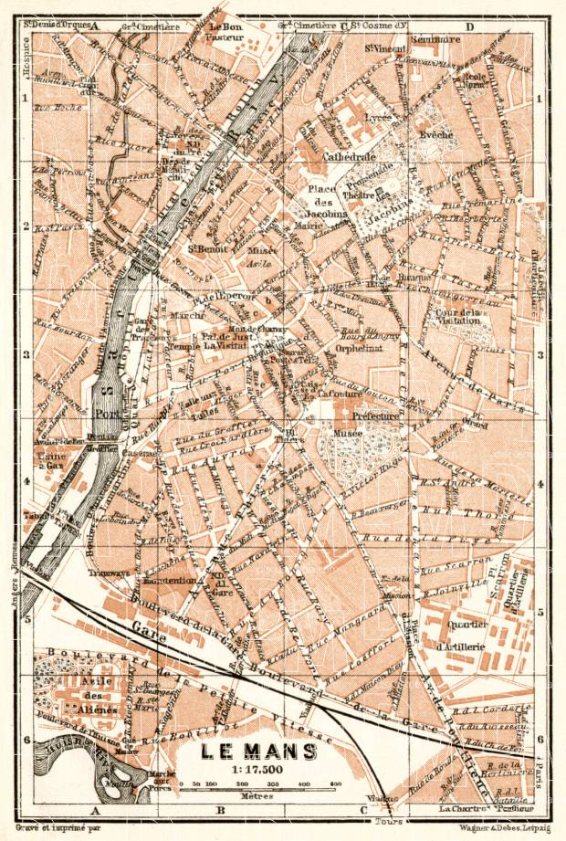 Le Mans city map, 1909. Use the zooming tool to explore in higher level of detail. Obtain as a quality print or high resolution image
