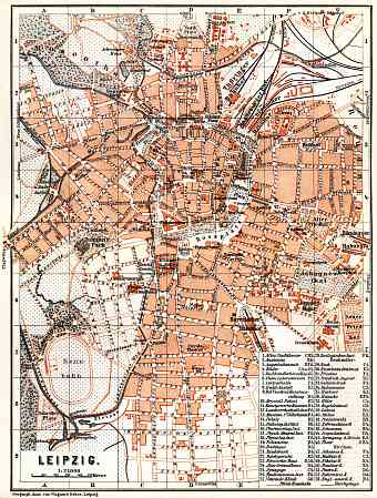 Leipzig city map, 1887