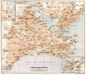 Constantionople (قسطنطينيه, İstanbul, Istanbul) city map, 1911