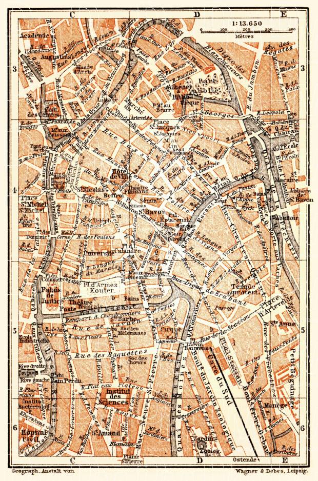 Ghent (Gent), central part map, 1904. Use the zooming tool to explore in higher level of detail. Obtain as a quality print or high resolution image