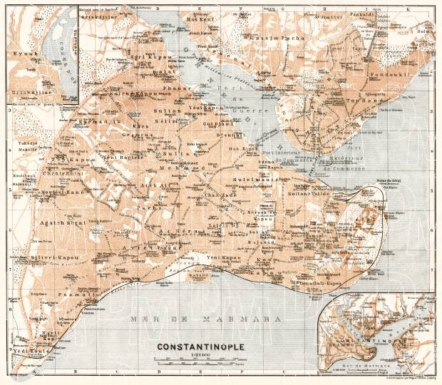 Constantionople (قسطنطينيه, İstanbul, Istanbul) city map, 1911. Use the zooming tool to explore in higher level of detail. Obtain as a quality print or high resolution image