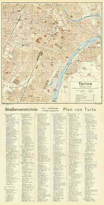 Turin (Torino) city map, 1929