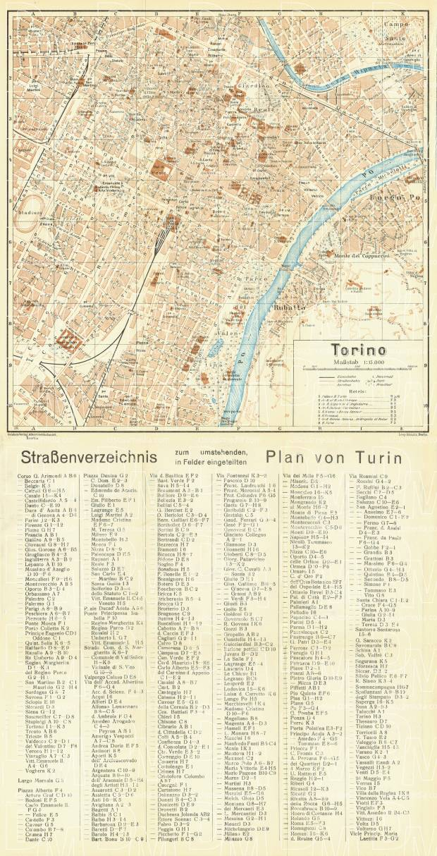 Turin (Torino) city map, 1929. Use the zooming tool to explore in higher level of detail. Obtain as a quality print or high resolution image