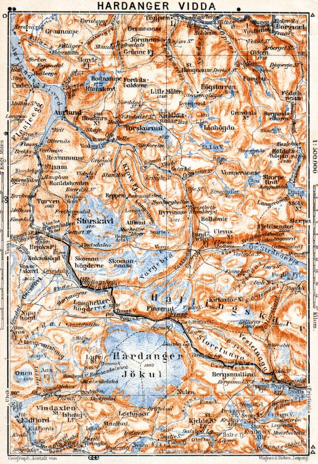 Hardanger Vidda map, 1910. Use the zooming tool to explore in higher level of detail. Obtain as a quality print or high resolution image