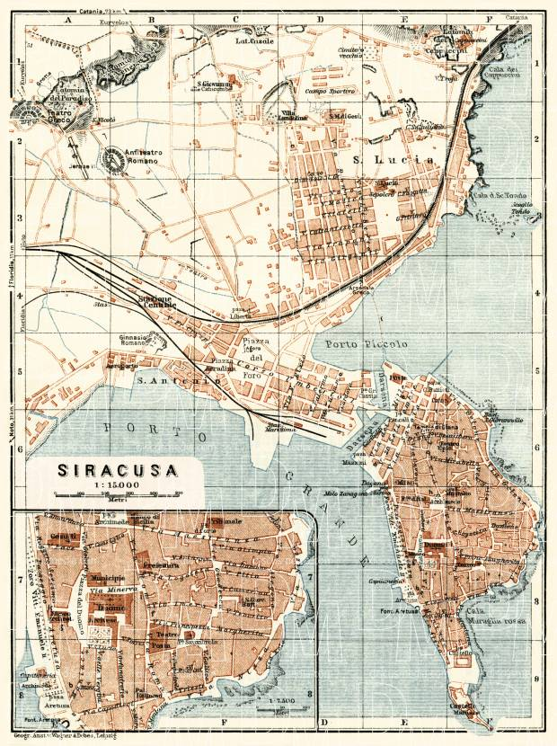 Syracuse (Siracusa) city map, 1929. Use the zooming tool to explore in higher level of detail. Obtain as a quality print or high resolution image