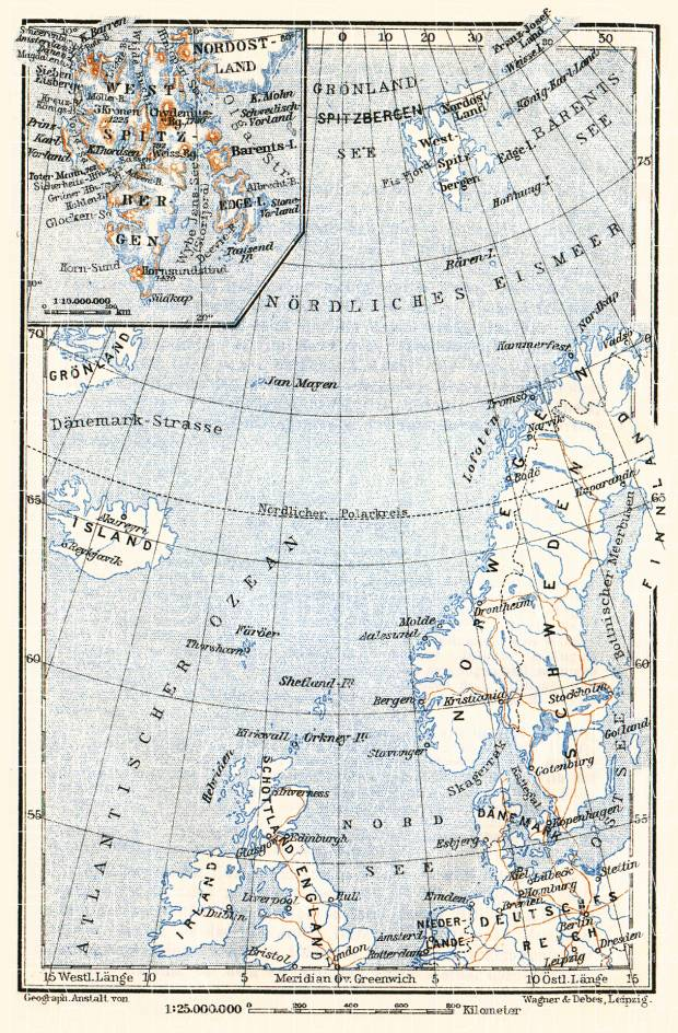 Svalbard and its location map, 1910. Use the zooming tool to explore in higher level of detail. Obtain as a quality print or high resolution image