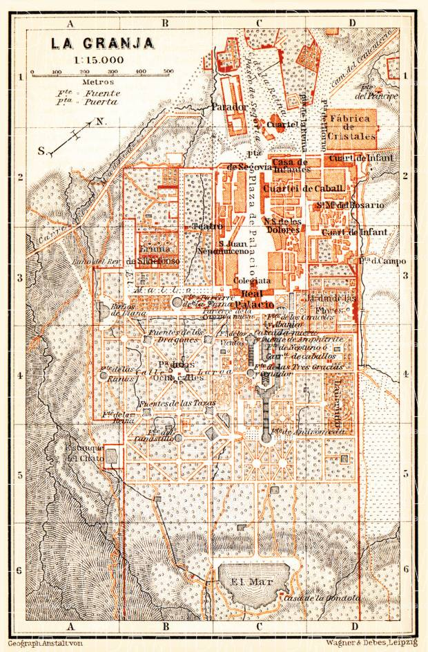 La Granja city map, 1899. Use the zooming tool to explore in higher level of detail. Obtain as a quality print or high resolution image