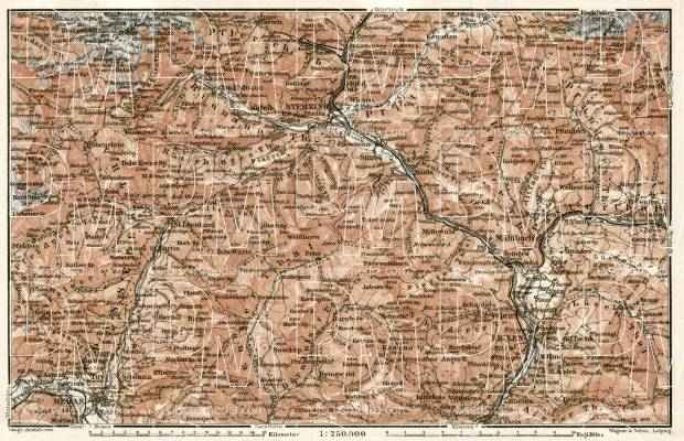 Sterzing, Bressanone (Brixen) and Merano (Meran) environs map, 1906. Use the zooming tool to explore in higher level of detail. Obtain as a quality print or high resolution image