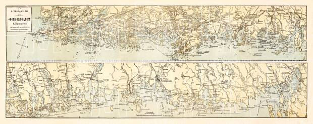 Map of the Southern Finland (in Russian), 1913. Use the zooming tool to explore in higher level of detail. Obtain as a quality print or high resolution image