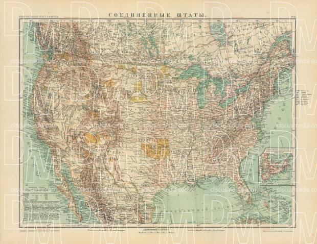 United States Map (in Russian), 1910. Use the zooming tool to explore in higher level of detail. Obtain as a quality print or high resolution image