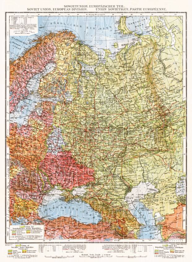Soviet Union, European part general map, 1928. Use the zooming tool to explore in higher level of detail. Obtain as a quality print or high resolution image