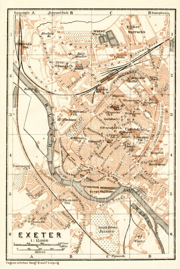 Exeter city map, 1906. Use the zooming tool to explore in higher level of detail. Obtain as a quality print or high resolution image