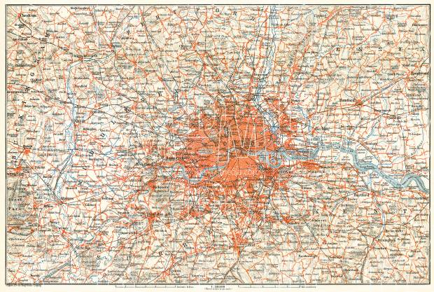 Greater London (Environs of London), 1909. Use the zooming tool to explore in higher level of detail. Obtain as a quality print or high resolution image