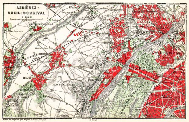 Asnières (Asnières-sur-Seine), Rueil (Rueil-Malmaison) and Bougival map, 1931. Use the zooming tool to explore in higher level of detail. Obtain as a quality print or high resolution image