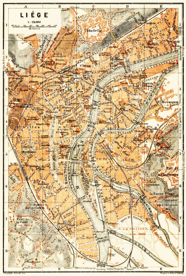 Liège (Lüttich) city map, 1904. Use the zooming tool to explore in higher level of detail. Obtain as a quality print or high resolution image