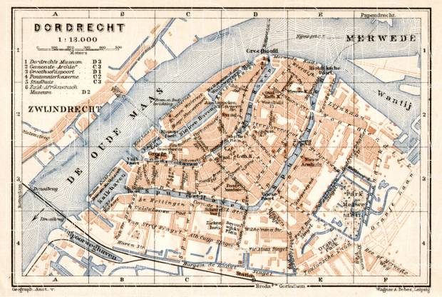 Old map of Dordrecht in 1909 Buy vintage map replica poster print