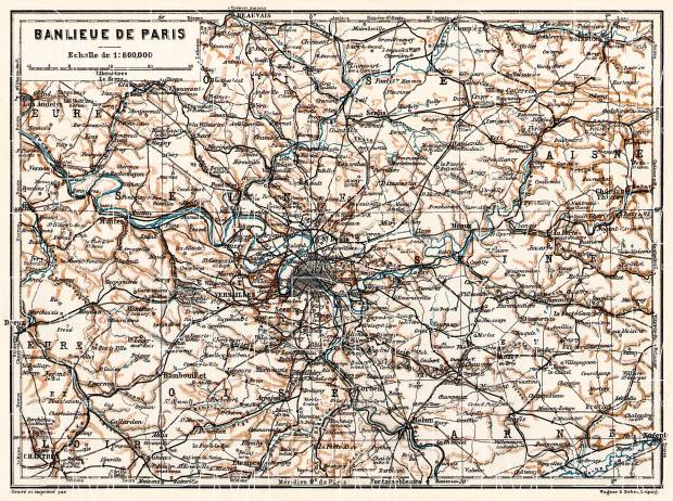 Old Map Of Paris Farther Vicinity Banlieue De In 1909 Buy: Old Maps Of Paris At Slyspyder.com