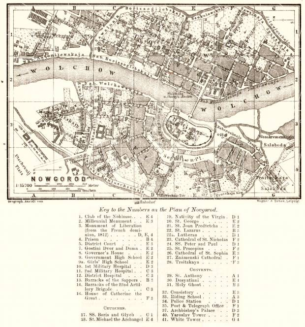 Novgorod (Новгородъ, Velikiy Novgorod) city map, 1914. Use the zooming tool to explore in higher level of detail. Obtain as a quality print or high resolution image