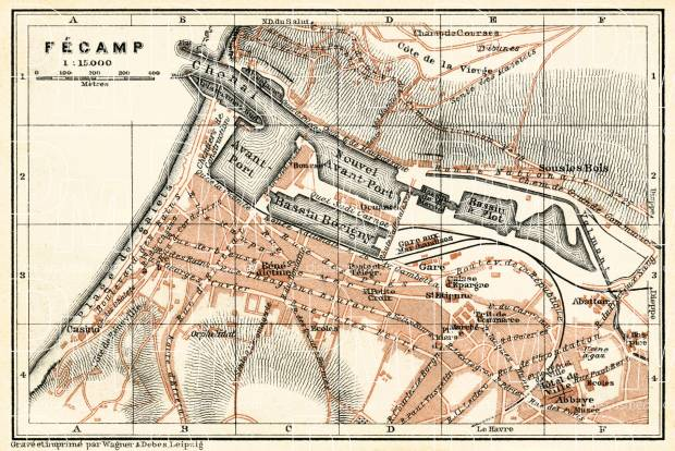 Fécamp city map, 1913. Use the zooming tool to explore in higher level of detail. Obtain as a quality print or high resolution image