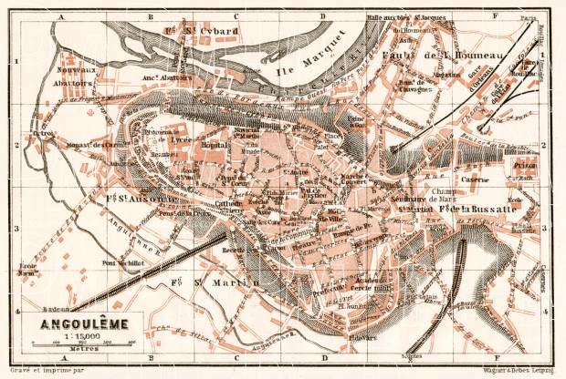 Angoulême city map, 1902. Use the zooming tool to explore in higher level of detail. Obtain as a quality print or high resolution image