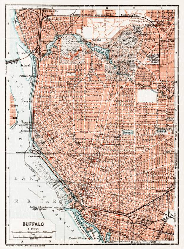 Old map of Buffalo in 1909. Buy vintage map replica poster print or City Of Buffalo Map on