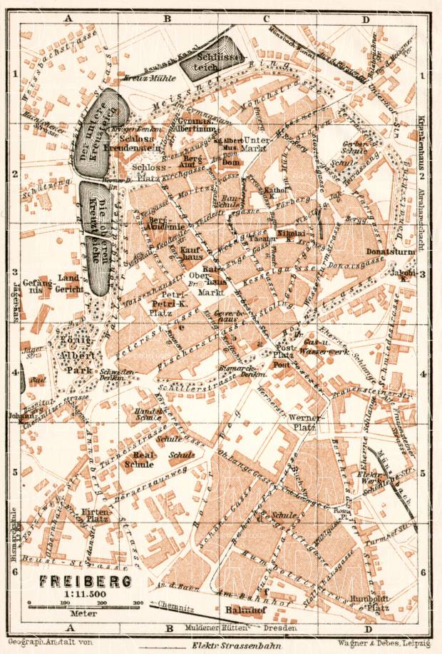 Freiberg city map, 1911. Use the zooming tool to explore in higher level of detail. Obtain as a quality print or high resolution image