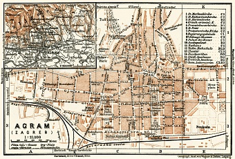 Agram (Zagreb), city map. Agram environs, 1929