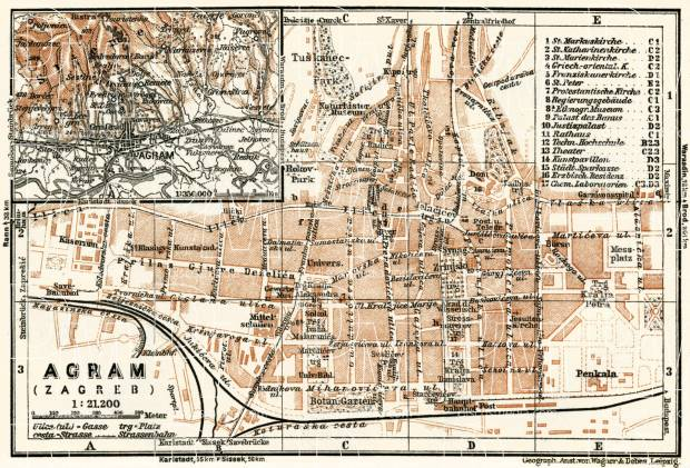 Agram (Zagreb), city map. Agram environs, 1929. Use the zooming tool to explore in higher level of detail. Obtain as a quality print or high resolution image