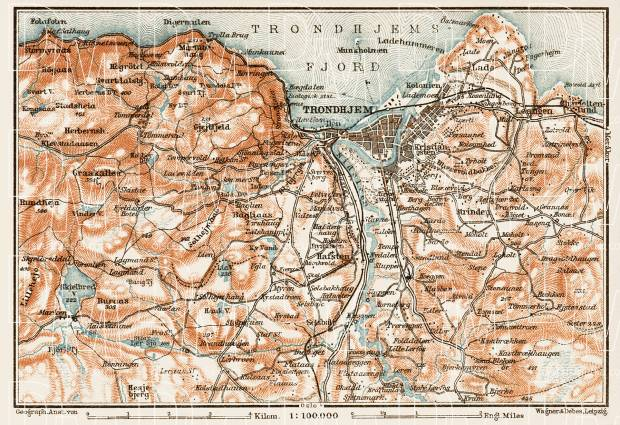 Old map of Trondheim Trondhjem vicinity in 1931 Buy vintage map