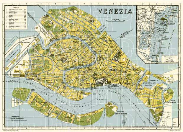 Old map of Venice in 1926 Buy vintage map replica poster print or