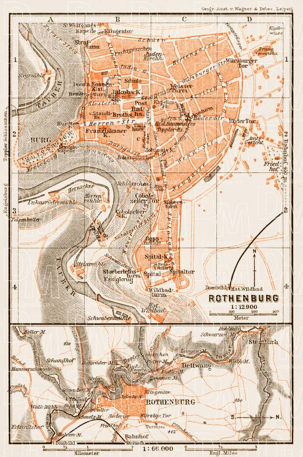 Rothenburg city map, 1909. Use the zooming tool to explore in higher level of detail. Obtain as a quality print or high resolution image