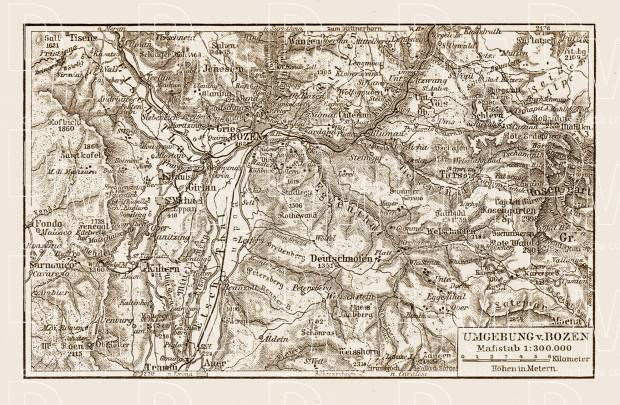 Bozen (Bolzano) and environs map, 1909. Use the zooming tool to explore in higher level of detail. Obtain as a quality print or high resolution image