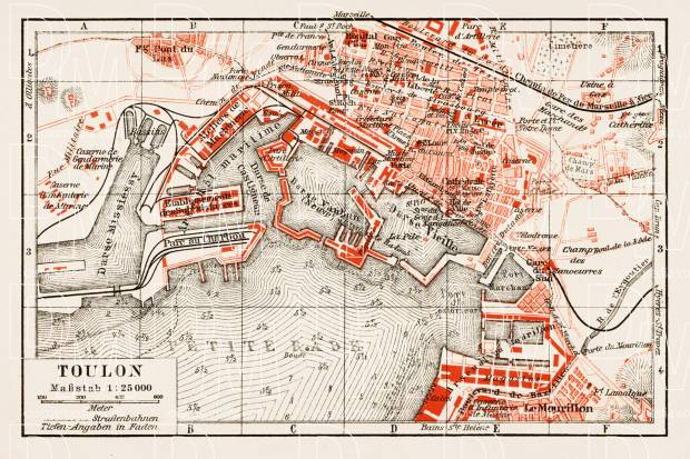 Old map of Toulon in 1913 Buy vintage map replica poster print or