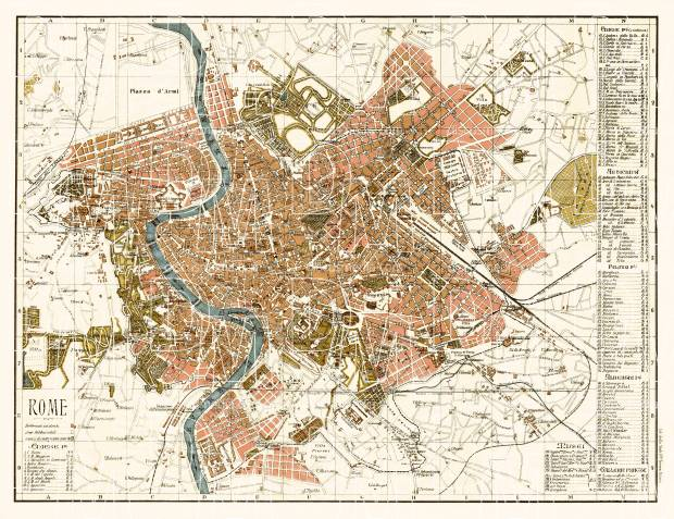 Rome (Roma) city map, 1904. Use the zooming tool to explore in higher level of detail. Obtain as a quality print or high resolution image