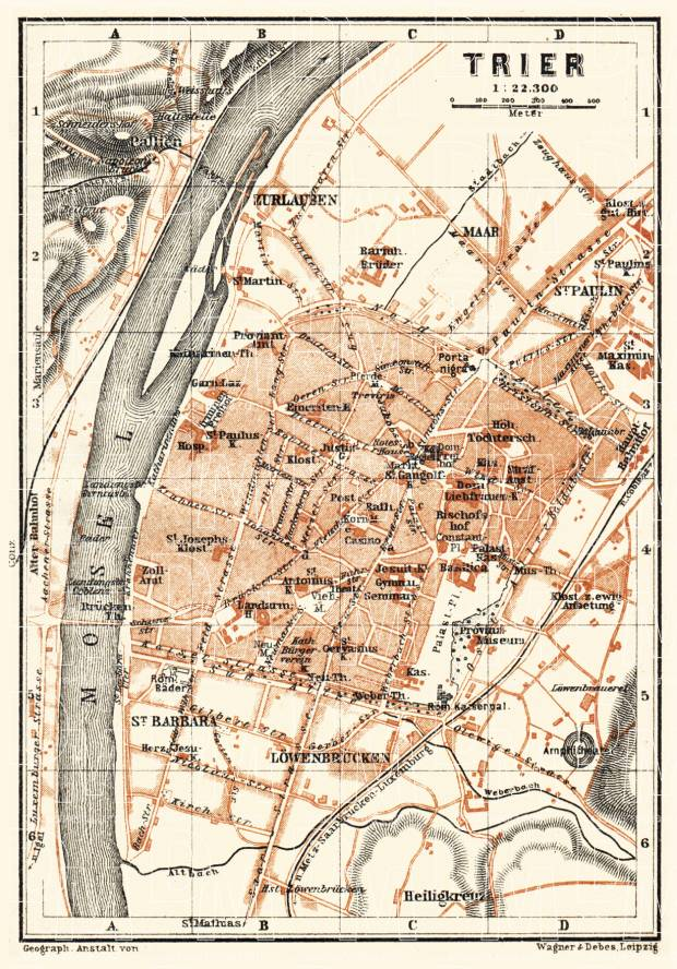 Old map of Trier in 1905 Buy vintage map replica poster print or